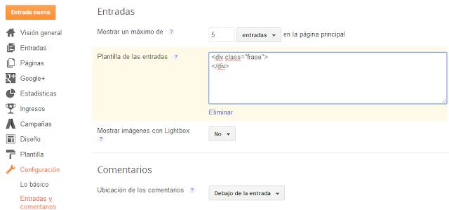 Configuracion de la Plantilla para entradas de Blogger