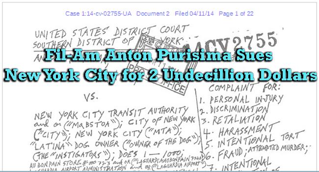 Fil-Am Anton Purisima Sues New York City for 2 Undecillion Dollars