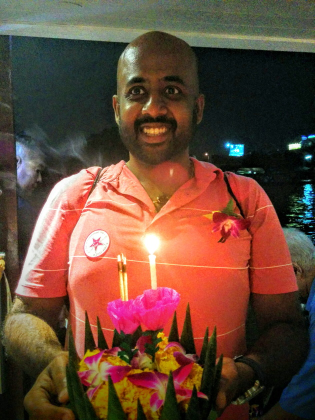 Me celebrating Loy Krathong at Bangkok, Thailand
