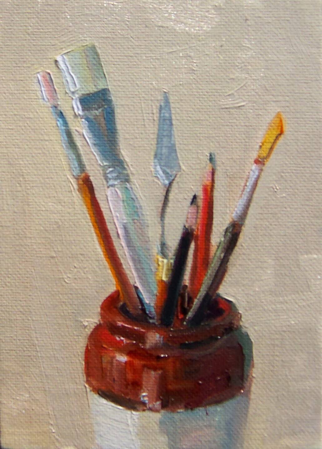 Art every day art supply jar still life oil on for Canvas painting supplies