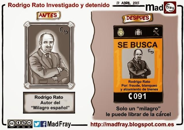 viñeta: Rodrigo Rato el autor del milagro español, a un milagro de no poder librarse de la carcel
