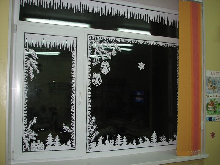 Украшения на окна к новому году мастер класс