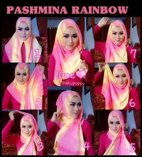 Cara Memakai jilbab pashmina Simple Rainbow