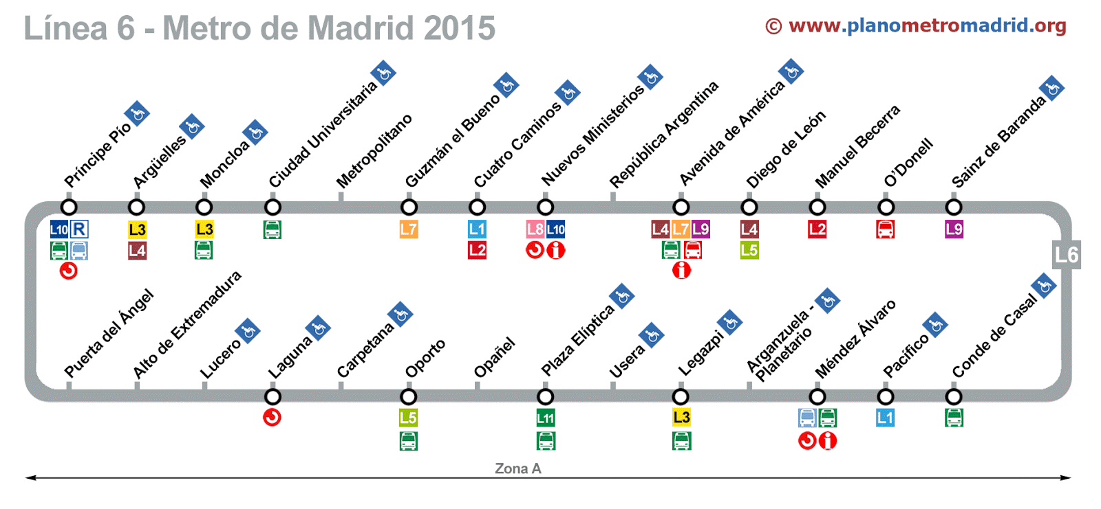 Madrid Metro Map Line 6