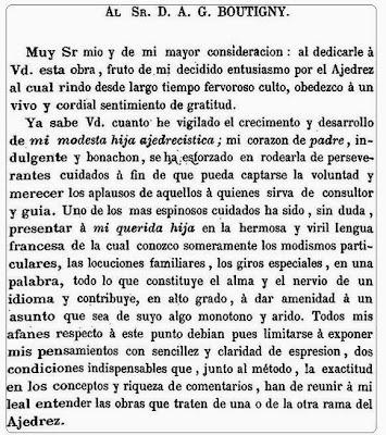 Dedicatoria del Tratado analítico de los problemas de ajedrez de José Tolosa