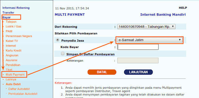 Pembayaran E samsat multi payment