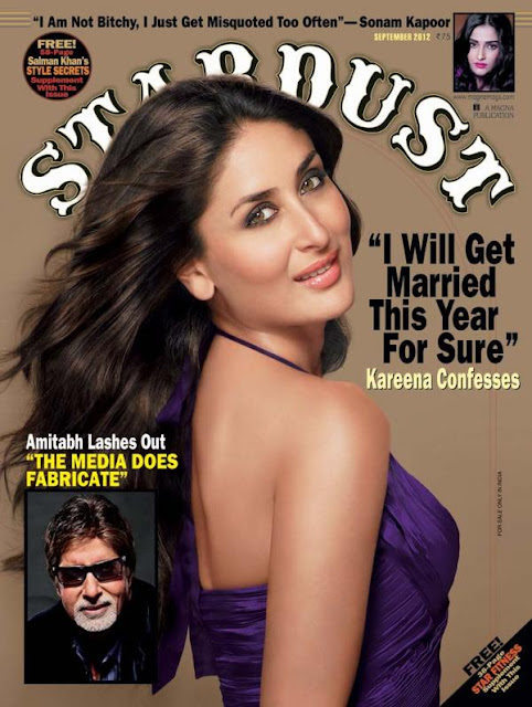 Kareena Kapoor on the cover page of Stardust - September 2012