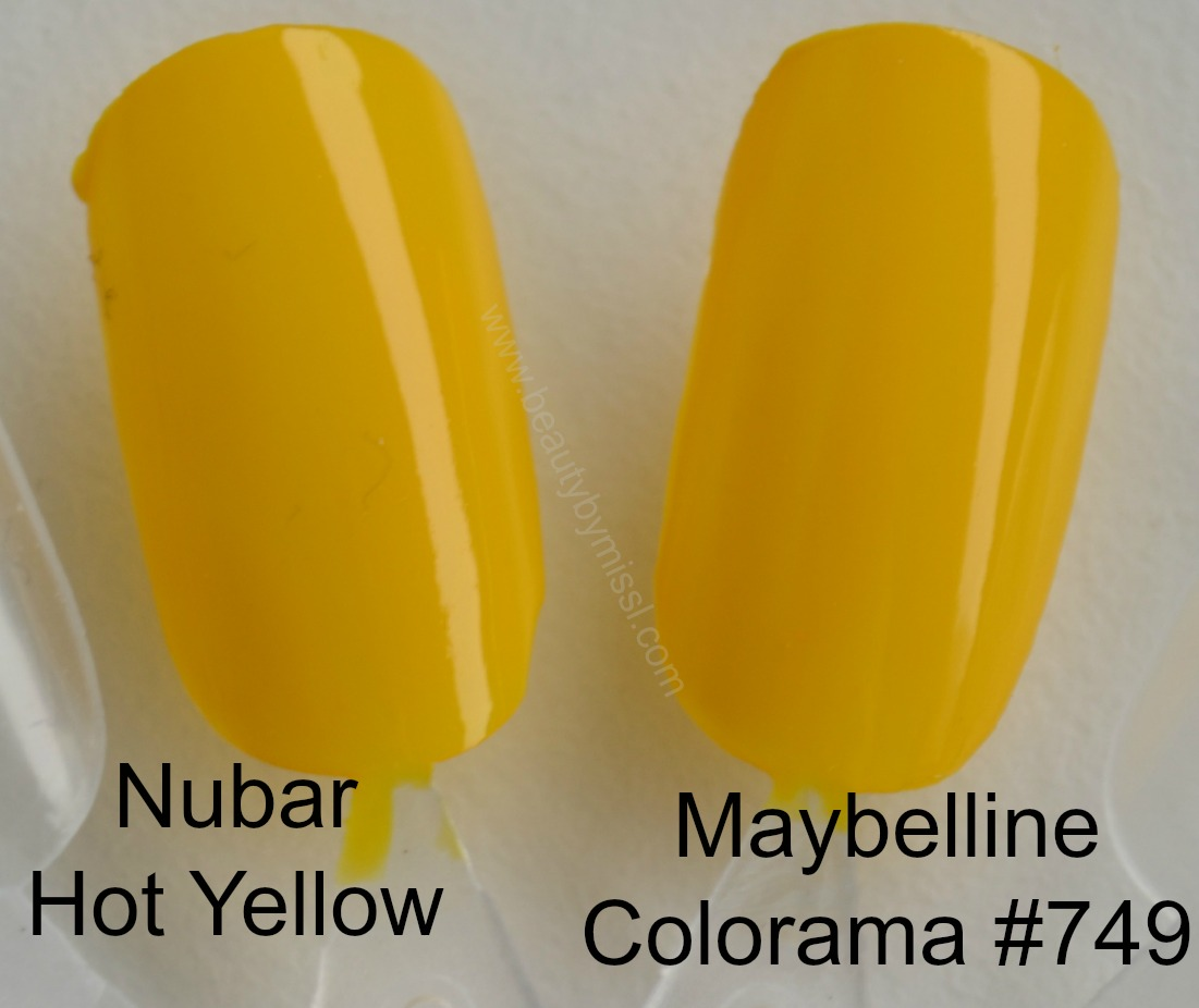 swatches yellow nail polish