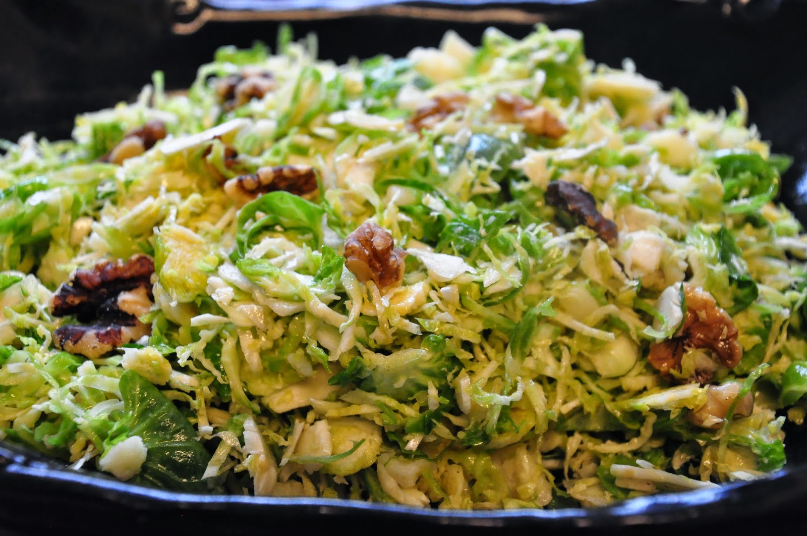 Bite Me: Shaved Brussels Sprouts with Pecorino and Walnuts