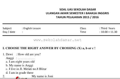 Soal UAS Bahasa Inggris Semester 1 Kelas 3 SD/MI
