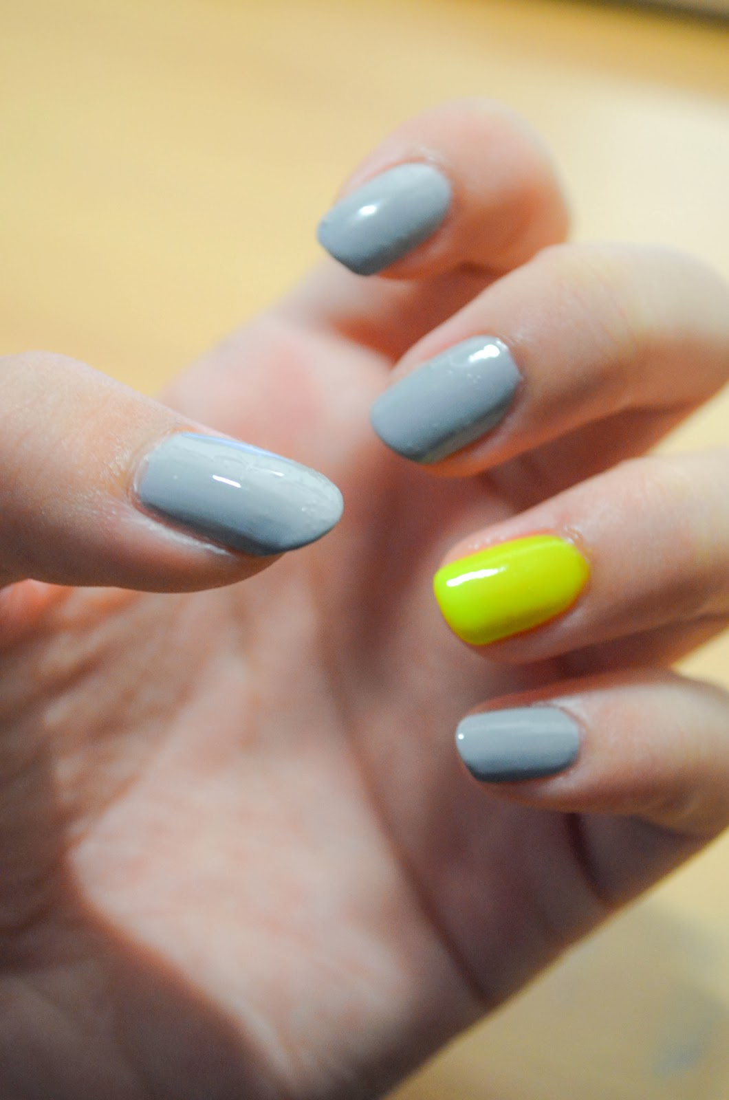 yellow highlighter grey nail polish