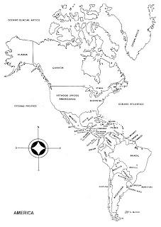 Planisferio de América con nombres