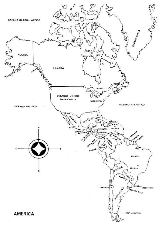 Pinto Dibujos: Mapa Planisferio de América con nombres