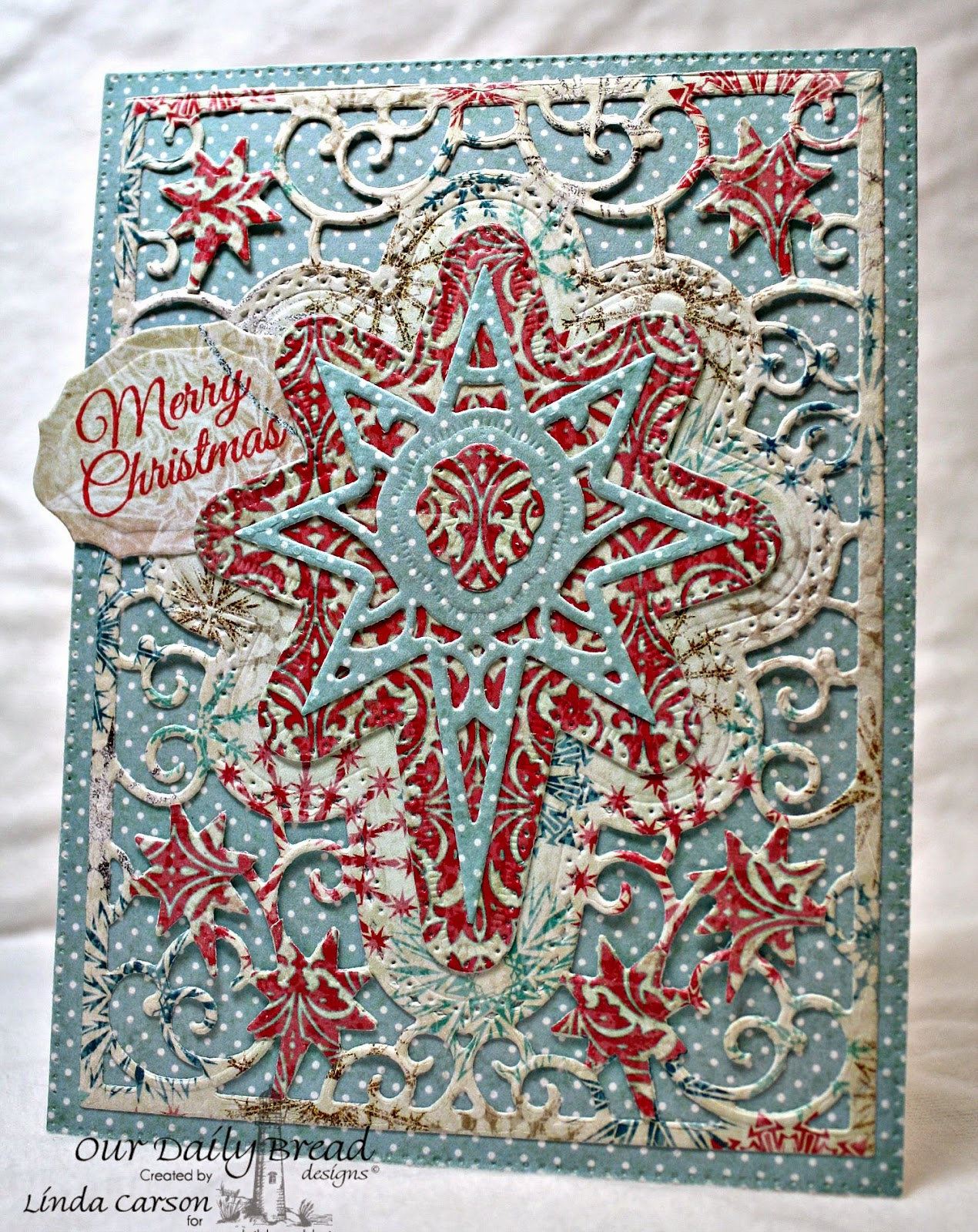 Our Daily Bread Designs, Poinsettia Wreath, Elegant Oval dies, Flourish Star Pattern die, Christmas Paper 2014, designer Linda Carson