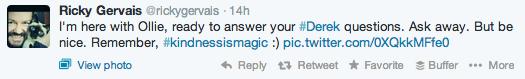 Ricky Gervais Derek Q&A tweet