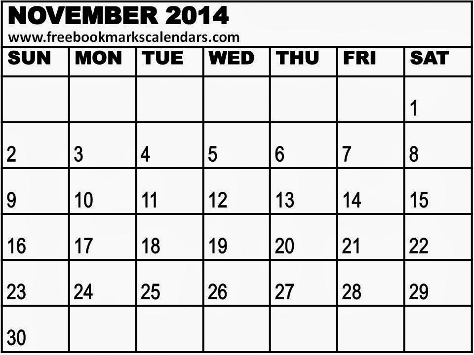 November Calendar 2014 : Blank calendar white gold