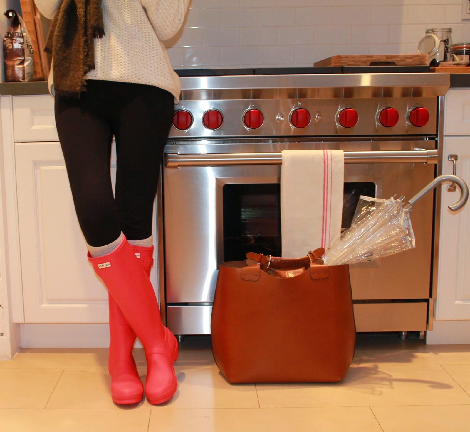 bright coral rain boots