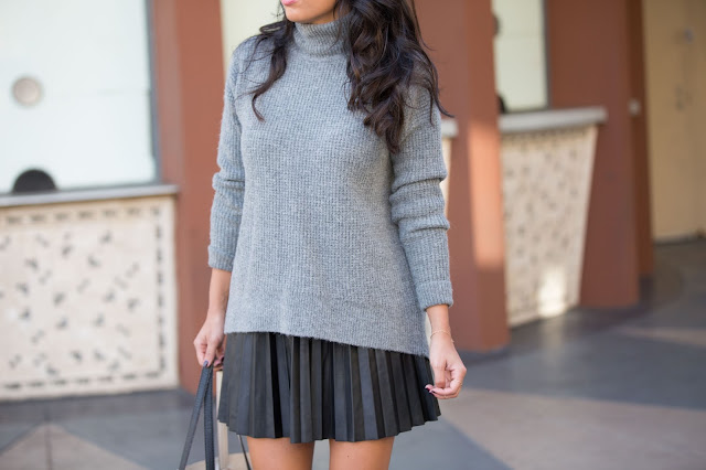 pleated skirt, leather skirt outfit, how to wear a turtleneck