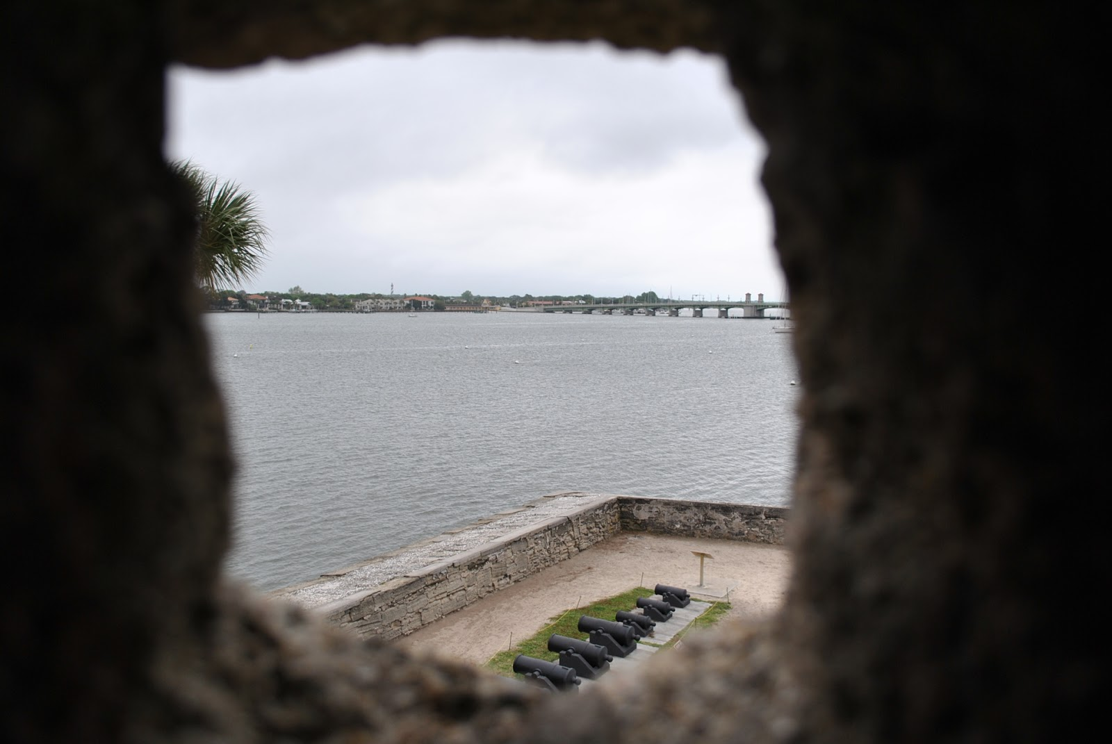 Peeking out the sentry box at Castillo de San Marcos in St. Augustine