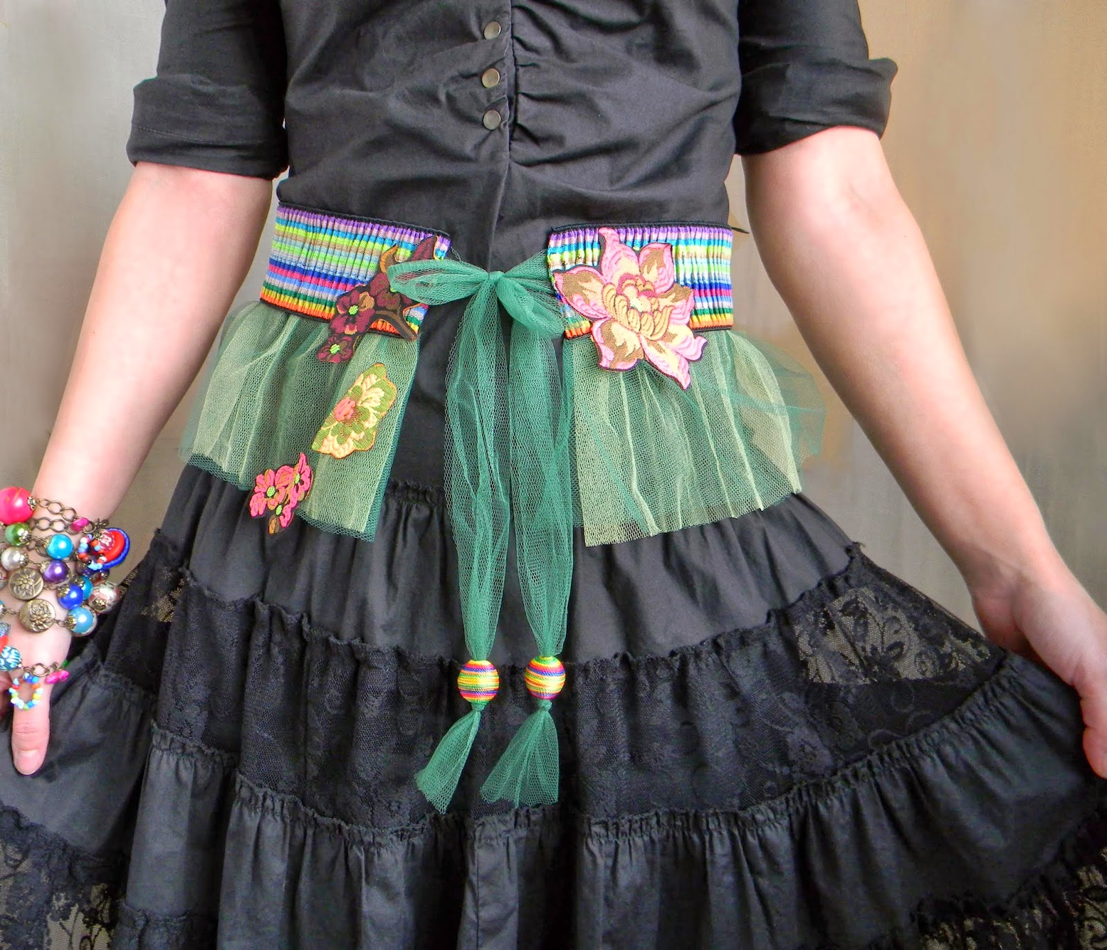 Gypsy Folkloric Waist Belt with Textile Floral Applique