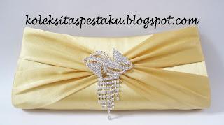 TAS PESTA - CLUTCH BAG KODE E5U SATIN GOLD BROSS JURAI