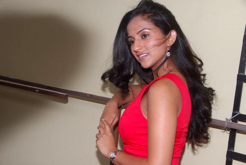 Ashika Hot Stills in Red Dress