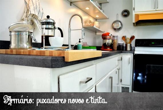antes e depois da cozinha - reforma na cozinha - aprender a decorar - armário e puxador