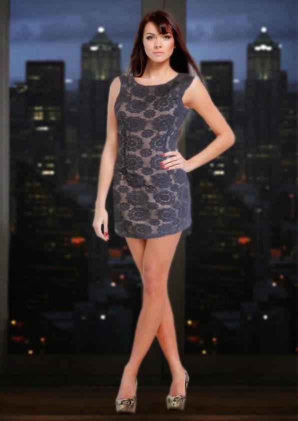 Blu Pepper Navy Lace Embroidery Mini Dress