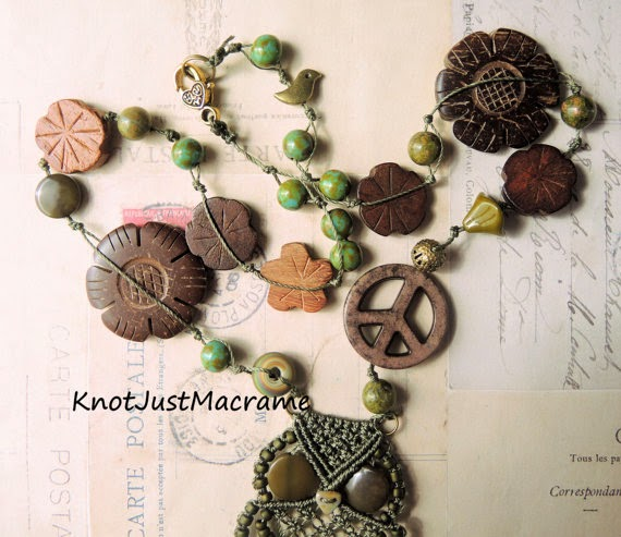Pease and Love hippie necklace with peace sign and wooden flowers.