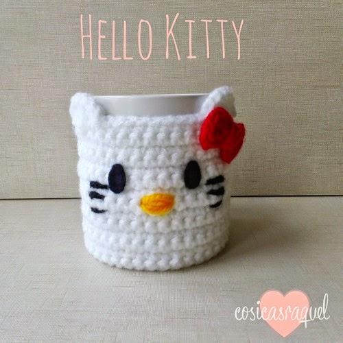 Cubre Tazas Hello Kitty de crochet