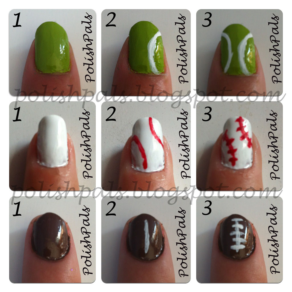 Polish pals sports themed nails tutorial sports nails tutorial prinsesfo Choice Image
