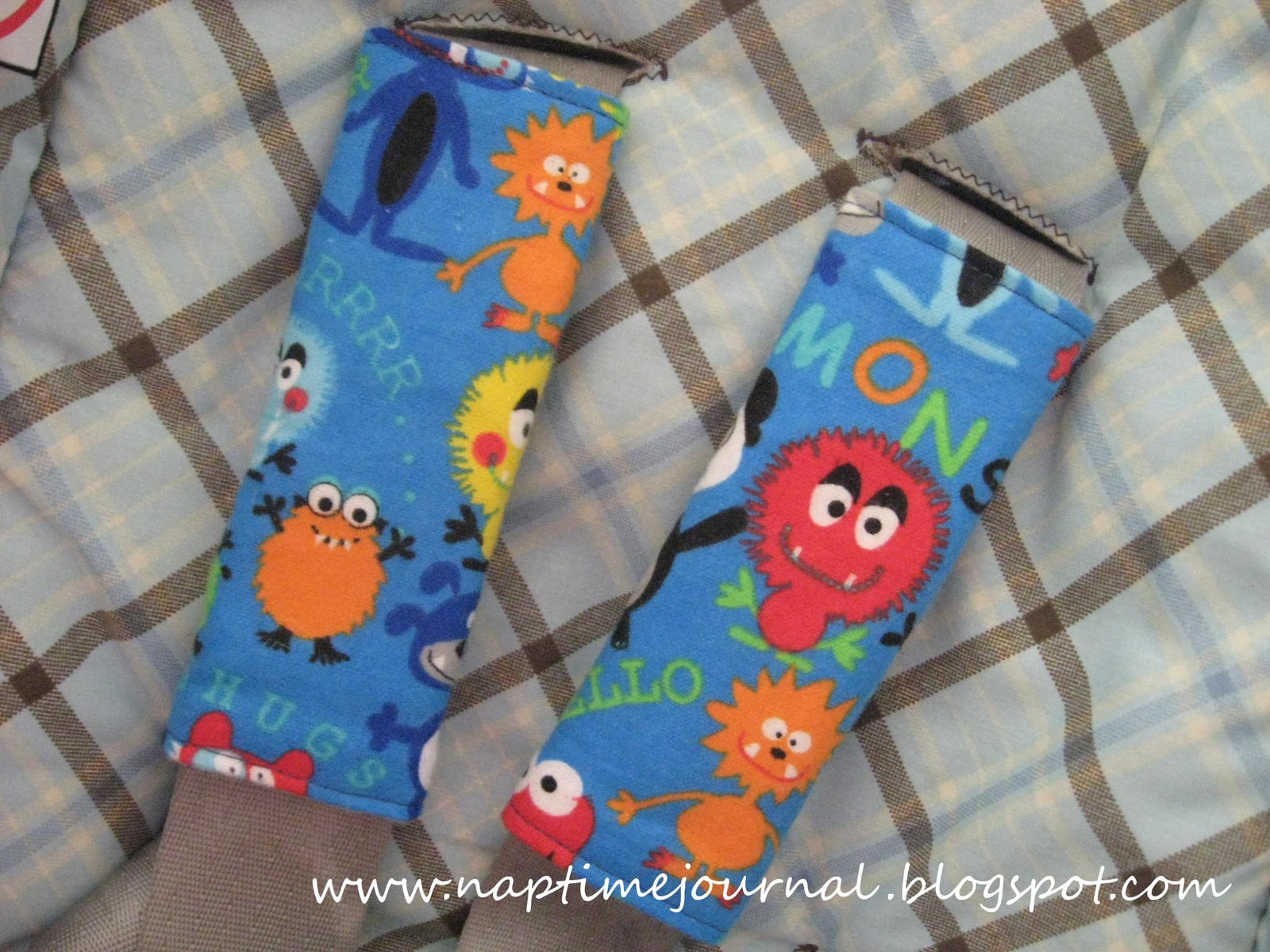 Nap time journal baby boy monster seat belt covers for Monster themed fabric