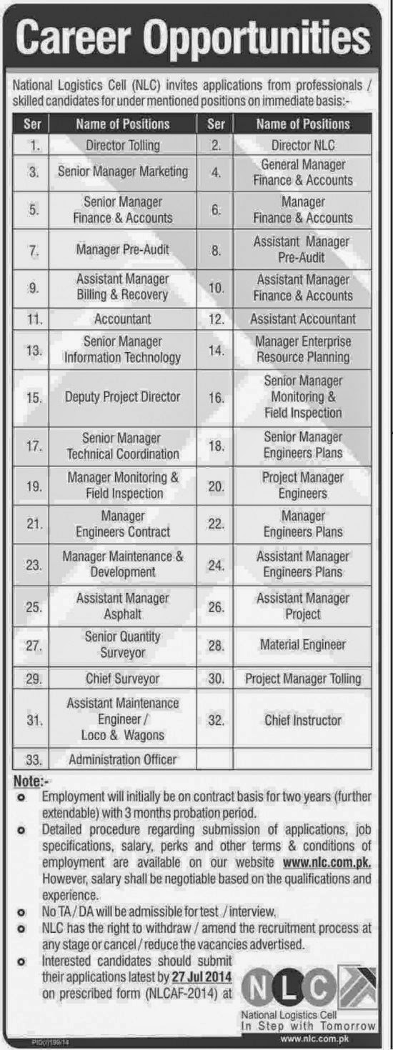 Admin and Manager Jobs in National Logistics Cell, Rawalpindi