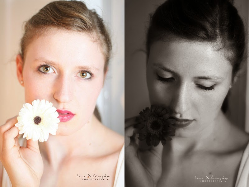 Indoor, Shooting, Lea Kalinsky, Photography, Flower, Romantisch, Low Key, Germany, Osnabrück, black and white, portrait