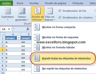 Repetir etiquetas de elementos en Tablas dinámicas de Excel