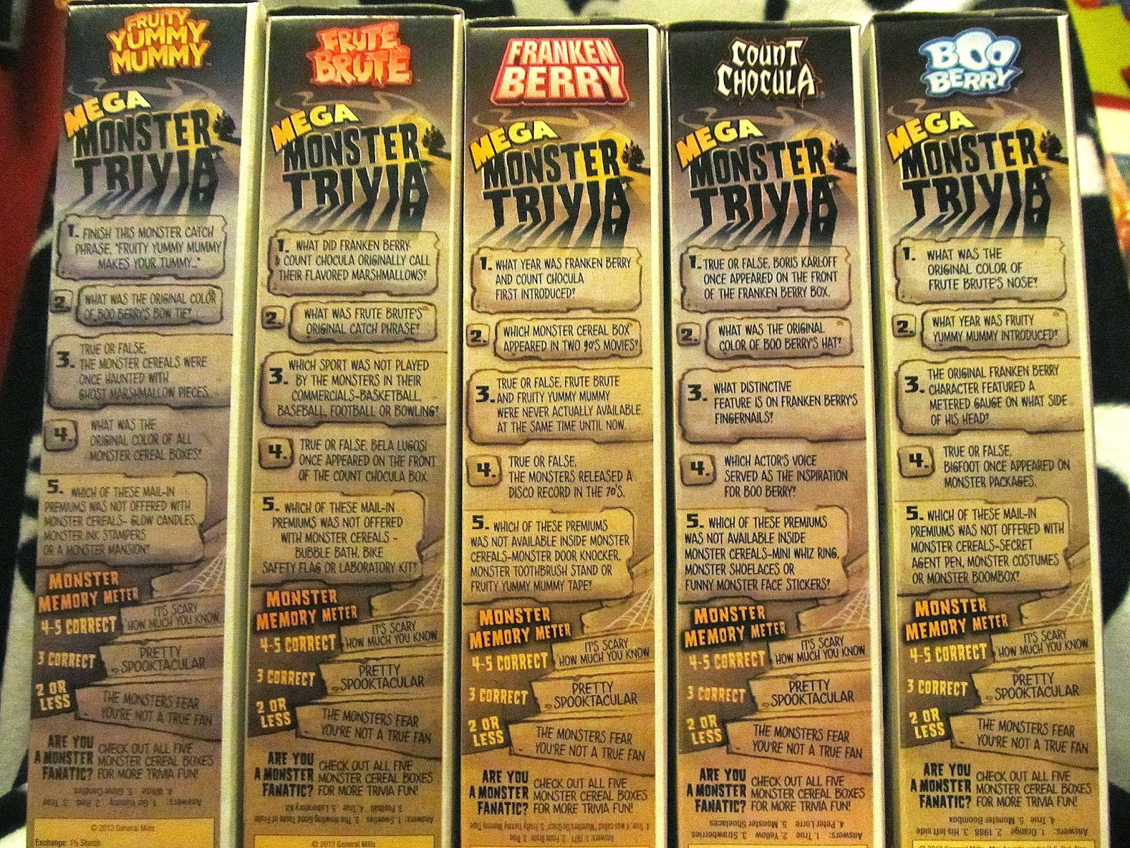 heres a look at the monster trivia on the side of all five boxes - Halloween Monster Trivia