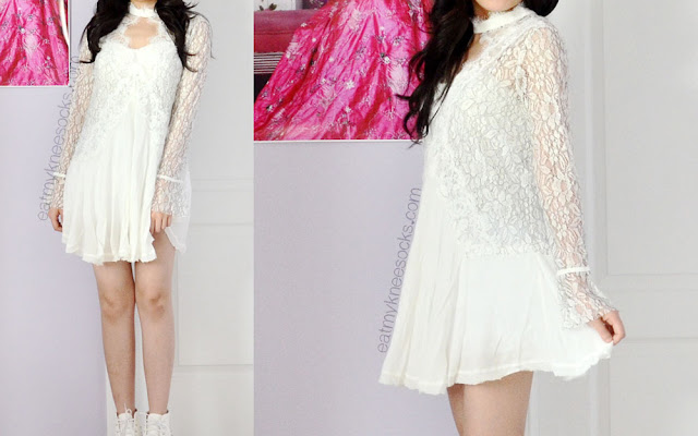 More photos of the romantic, bohemian-esque white lace cutout dress from SheInside, a dupe of the Free People Secret Origins pierced lace tunic.
