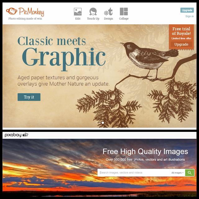 Site Picmonkey retouche photos et site pixabay pour les photos libres de droit