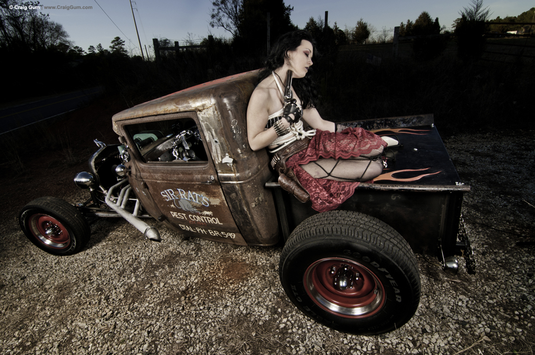 On motorcycles rat hot rod girls