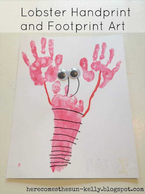 Lobster Handprint and Footprint Art