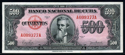 Cuba banknotes Currency 500 Cuban Pesos banknote bill