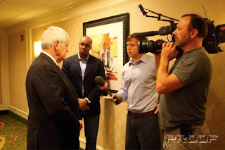 Newt Gingrich speaks with CNN reporters who weren't allowed inside the meeting