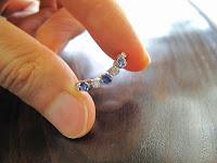 中古 サファイア3石 ダイヤモンド4石 ちょこっと可動 K18 PT900 リング #12