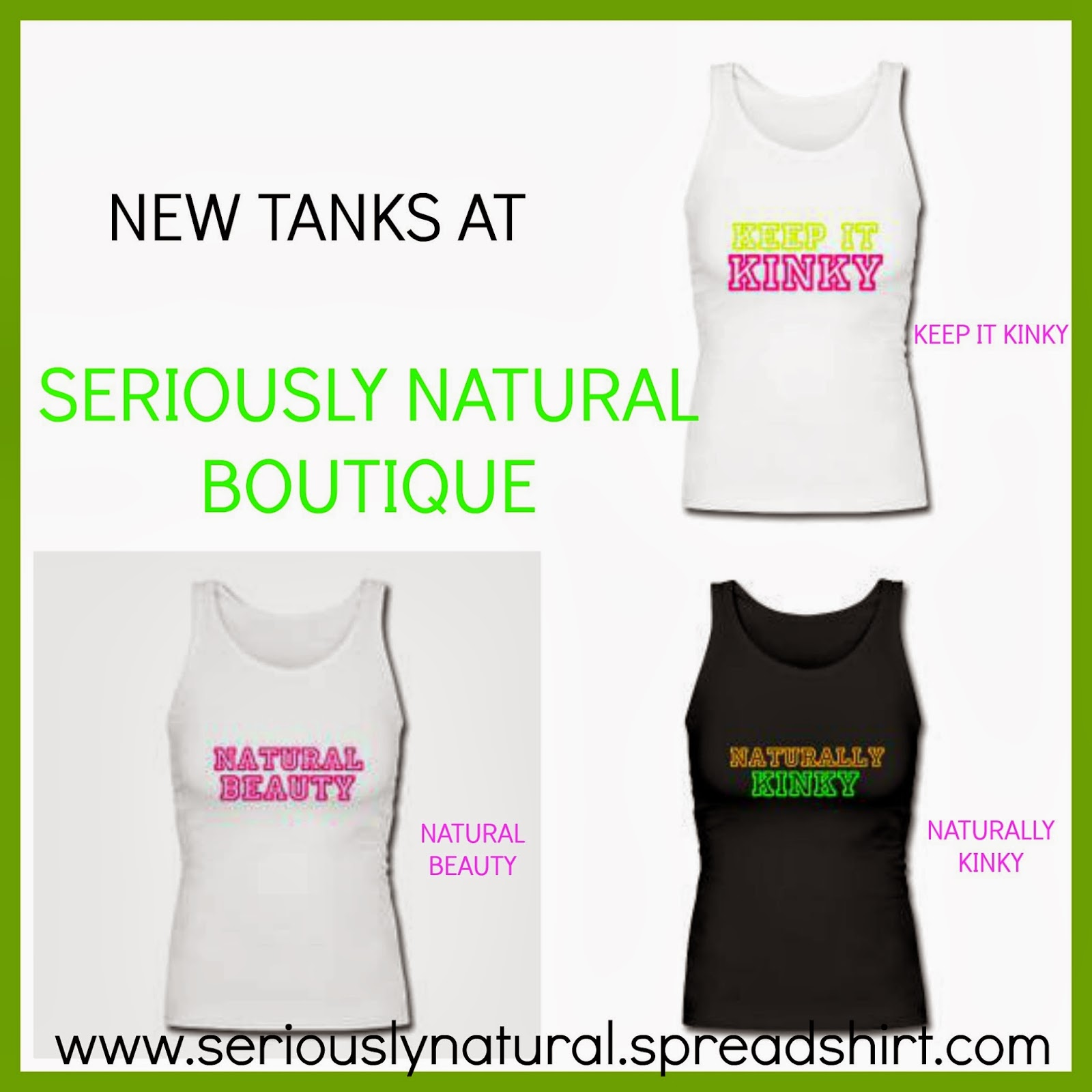 New Tanks Tops at Seriously Natural Boutique!!