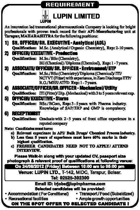 LUPIN pharma nagpur MIDC job vacancy | Recruitment 2015 ...