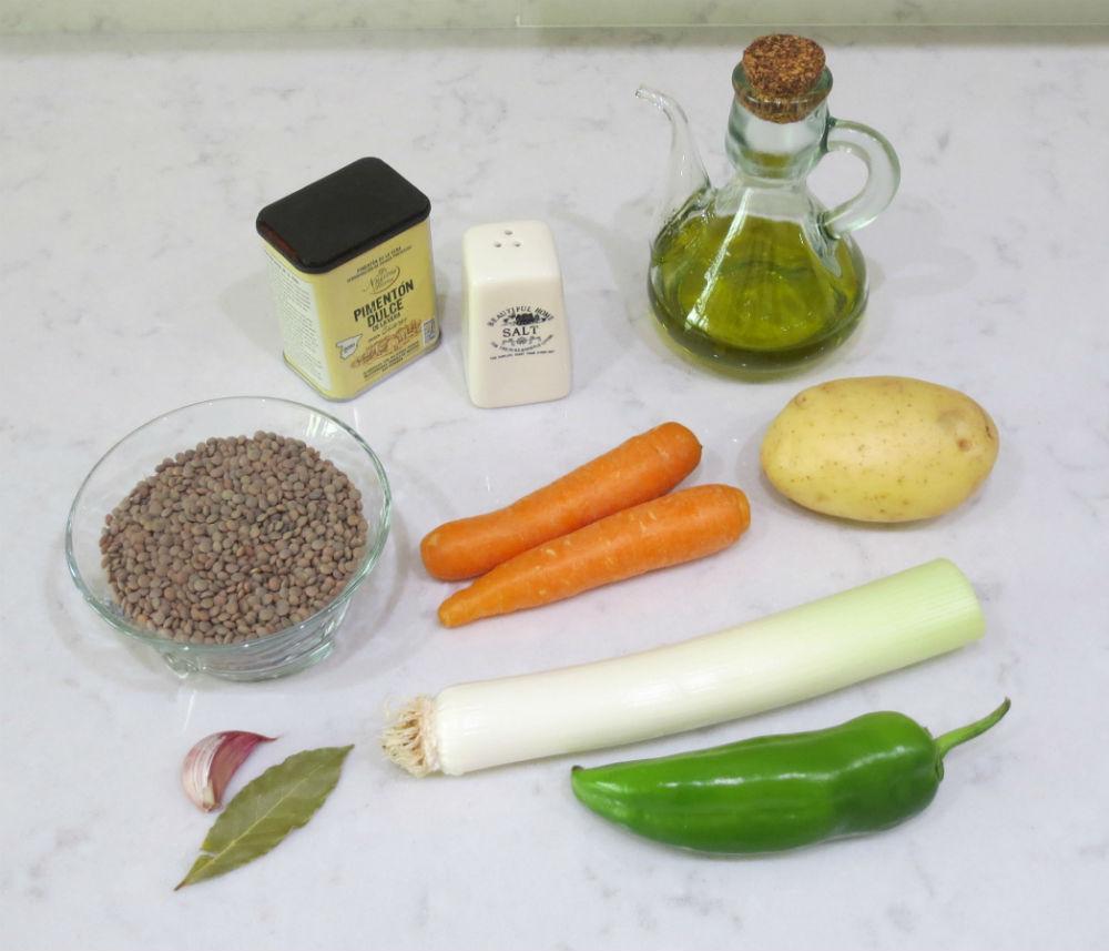 Ingredientes lentejas con verduras