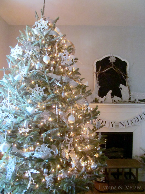 Silver White Winter Christmas Tree Hymns And Verses