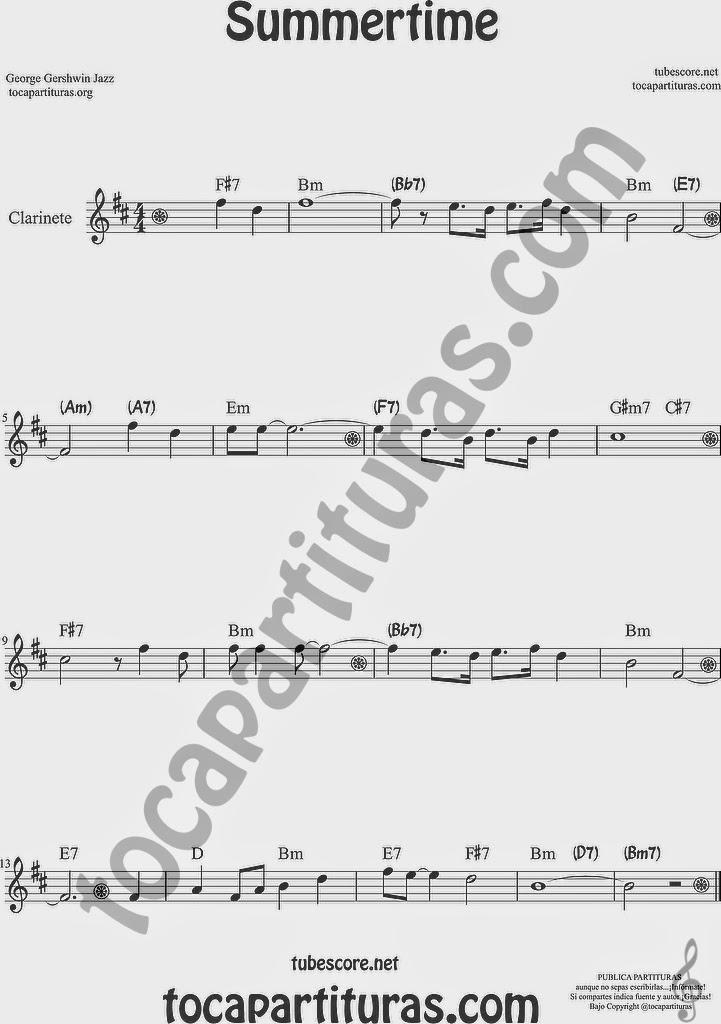 Summertime de Partitura de Clarinete Sheet Music for Clarinet Music Score