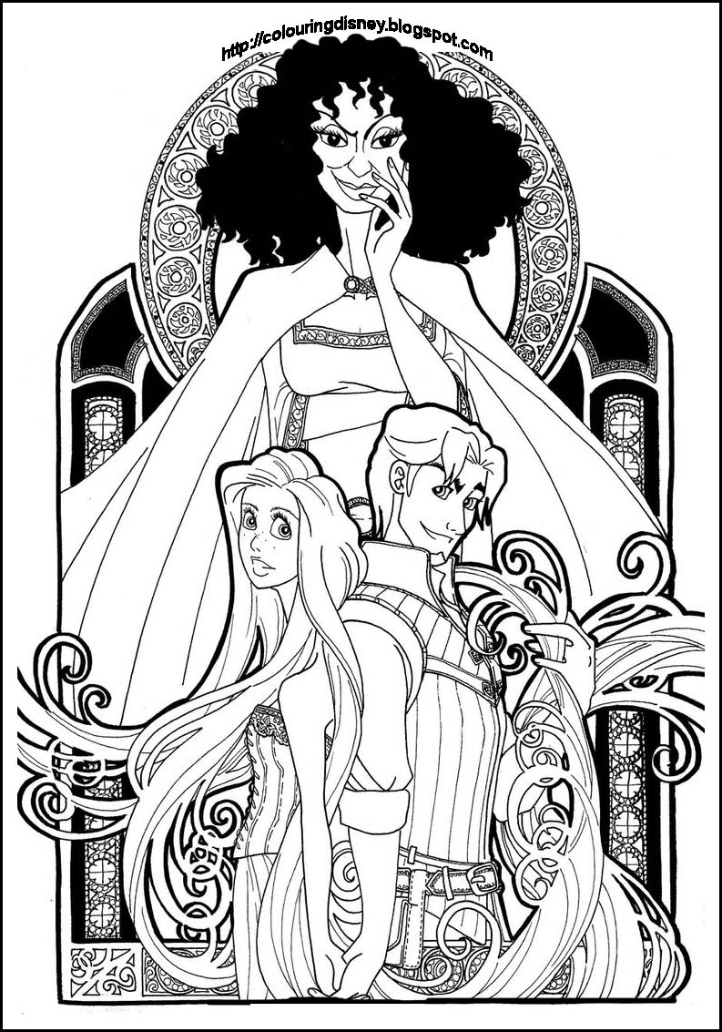 Princess coloring pages for Disney tangled coloring pages