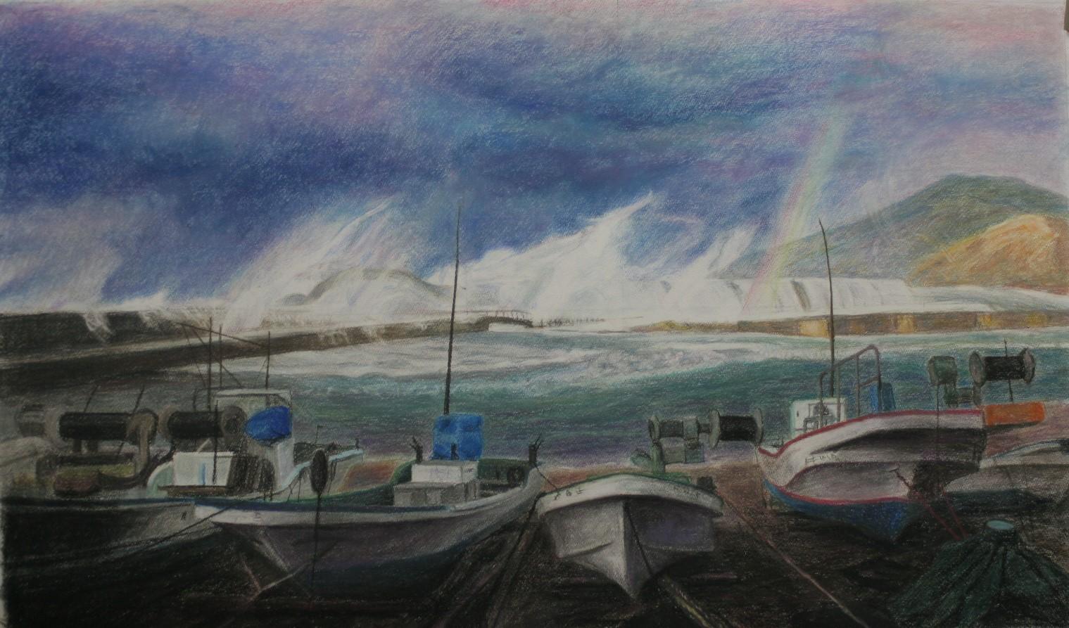粟島釜屋漁港に虹が立つ
